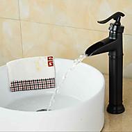 antico globo stile& disegno maniglia un foro bagno di acqua calda e fredda rubinetto lavabo in metallo - nero