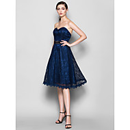 Knee-length Lace Bridesmaid Dress - Dark Navy Plus Sizes / Petite A-line Sweetheart