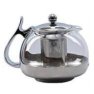 700ml Stainless Steel Glass Tea Pot Teapot Strainer Filter Kettle