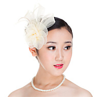 Women  Polyester Feather Flowers Fascinators Wedding Headpiece Beige/Black/Dark blue