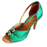 Customized Women's Latin Sandals Customized Heel Double Buckles Dance Shoes