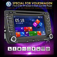 "7 ""2 DIN LCD touch screen carro dvd player para volkswagen com CAN-BUS, bluetooth, gps, ipod-entrada, rds, rádio, quadriciclo"