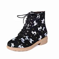 נעלי נשים - מגפיים - דמוי עור - מגפי צבא / מעוגל / סגור - שחור / כחול - שטח / משרד ועבודה / שמלה / קז'ואל - עקב נמוך