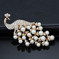 Women's Crystal Pearl Peacock Animal Brooch for Wedding Party Decoration Scarf ,Fine Jewelry