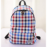 Women Canvas Baguette Backpack - Blue/Brown/Red