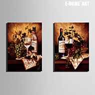 E-HOME® Stretched Canvas Art Wine Cup And Wine Decorative Painting Set of 2