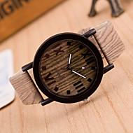 女性用 ファッションウォッチ 腕時計 ウッド クォーツ レザー バンド ビンテージ ブラウン カーキ