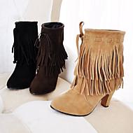 Chaussures Femme - Habillé - Noir / Marron / Jaune - Gros Talon - Bout Arrondi / Bottes à la Mode - Bottes - Similicuir