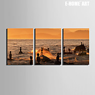 E-HOME® Stretched Canvas Art Floating on The Sea Decoration Painting Set of 3