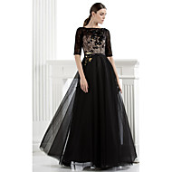 TS Couture Formal Evening Dress - Black Plus Sizes / Petite A-line Bateau Floor-length Lace / Tulle