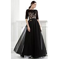 저녁 정장파티 드레스 - 블랙 A라인 바닥 길이 바토 레이스/명주그물