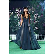 Formal Evening Dress - Dark Navy A-line Jewel Floor-length Chiffon / Satin