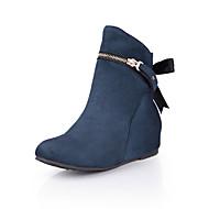 Women's Shoes Fleece Wedge Heel Wedges / Bootie / Round Toe Boots Dress / Casual Black / Blue / Green / Red