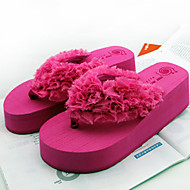 Women's Shoes PVC Flat Heel Flip Flops Slippers Outdoor Black / Red