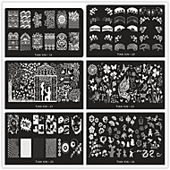 24 Kinds of Mixed Style Printing Plate Template Manicure Supplies Wholesale DIY Nail Blue Rectangular Membrane