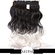"Neitsi® 1pc 110g 22"" 3/4 Full Head 5clips Kanekalon Synthetic Braiding Hair Pieces Clip In/on Wavy Extensions T-White#"
