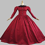 One-Piece/Dress Gothic Lolita Steampunk® Cosplay Lolita Dress Red Solid Long Sleeve Long Length Dress For Women Cotton / Lace / Terylene