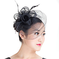 Lady Mesh Feather Birdcage Veil Flowers Fascinators Bridal Headpiece Church Hat White/Black