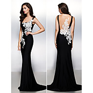 Formal Evening Dress - Black Trumpet/Mermaid Square Sweep/Brush Train Jersey