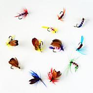 12 pcs Moscas / Iscas Moscas Cores Sortidas 1 g/<1/18 Onça mm polegada,Metal Pesca Voadora