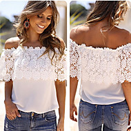 FIFI Women's Lace White Tops & Blouses , Sexy / Casual / Work Strapless ½ Length Sleeve