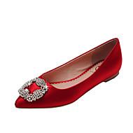 Calçados Femininos - Sapatilhas - Bailarina / Bico Fino / Bico Fechado - Rasteiro - Vermelho / Champagne - Cetim -Escritório & Trabalho /