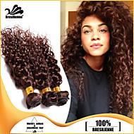 3pcs haces de pelo brasileño teje marrón chocolate enrollamiento profundo trama del pelo 100% sin procesar trama brasileña del pelo humano