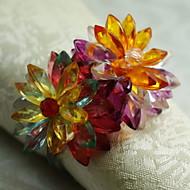 크리스탈 꽃 냅킨 링, 아크릴, 1.77inch, 12 세트