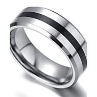 Mens tungsten Ring, Silver & Black,KR2039