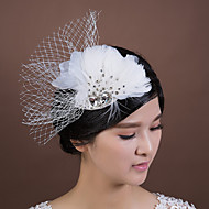 Women's/Flower Girl's Feather/Rhinestone/Chiffon/Fabric/Net Headpiece - Wedding/Special Occasion Fascinators 1 Piece