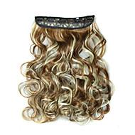 24 palců 120 g dlouhé kudrnaté 5 klip na prodlužování vlasů teplu odolných syntetických vláken