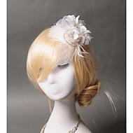 Women's Feather / Rhinestone / Tulle / Imitation Pearl Headpiece - Wedding Fascinators 1 Piece