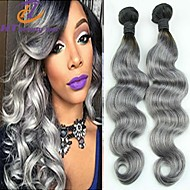"New Arrival 12""-26"" Brazilian Virgin Hair Body Wave Gray Color Unprocessed Human Hair Weaves Hot Sale"