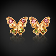InStyle 18K Chunky Gold Plated Butterfly Stud Rhinestone Earrings High Quality