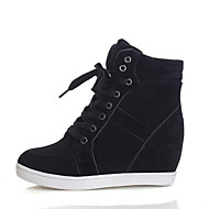 Women's Shoes Fabric Wedge Heel Comfort Round Toe Fashion Sneakers Casual Black / Red