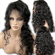 """obearbetade 10 """"-24"""" jungfruligt brasilianskt hår naturliga färg förkroppsligar vinkar 130% densitet fullt spets peruk / spets front peruk"""