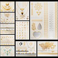 10ks vzor květiny pláž dočasný zlatá stříbrná metalíza blesk tetování nálepka náramek náhrdelník vodotěsný