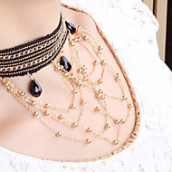 Women's retro alloy necklace exaggerated decorative tassels short chain of clavicle