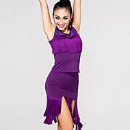Latin Dance Tops / Bottoms Women's Performance / Training Chinlon / Spandex Tassel(s) 2 Pieces