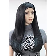 новая мода 3/4 парик с повязки черные как смоль длинные прямые синтетические половина парик 679b # 1