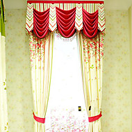 (Two Panel)Country  Floral Printed Cotton Linen Blend Eco-friendly Curtain(Valance and Sheer Not Included)