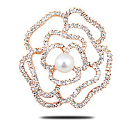 Upscale thicker plating gold brooch Korean fashion natural freshwater pearl brooch diamond  roses scarf buckle wholesale