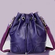 Women Cowhide Barrel Shoulder Bag - Purple / Brown / Black