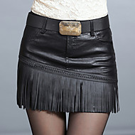 Women's Solid / Patchwork Black Skirts , Casual Mini