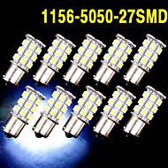 10 X White 1156 BA15S LED 27-SMD Light bulbs Tail Backup RV Camper 1141 1003 US