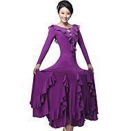 Ballroom Dance Dresses&Skirts Women's Performance / Training Milk Fiber Crystals/Rhinestones / Draped / Ruffles