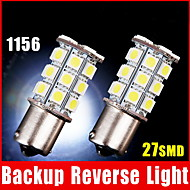 2 X White 1156 BA15S LED 27-SMD Light bulbs Tail Backup Car RV Trailer 1141 1003
