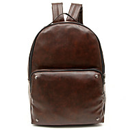 Unisex PU Bucket Backpack - Brown / Black