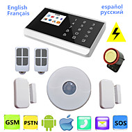 toque sistema de alarme gsm pstn lcd sem fio de voz app android para alarme de segurança em casa residencial com sensor de pir teto