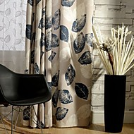 Two Panel Country Leaf Printed Cotton Energy Saving Curtains Drapes